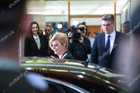 New Croatian President Zoran Milanovic and the outgoing Croatian President Kolinda Grabar-Kitarovic