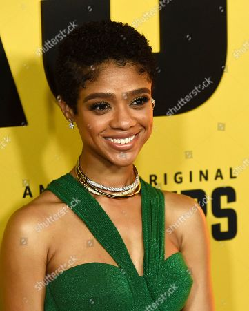 """Tiffany Boone, a cast member in the Amazon Prime Video series """"Hunters,"""" poses at the premiere of the show at the Directors Guild of America, in Los Angeles"""