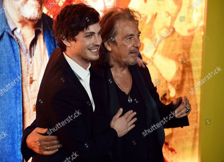"""Al Pacino, Logan Lerman. Logan Lerman, left, and Al Pacino, cast members in the Amazon Prime Video series """"Hunters,"""" pose together at the premiere of the show at the Directors Guild of America, in Los Angeles"""