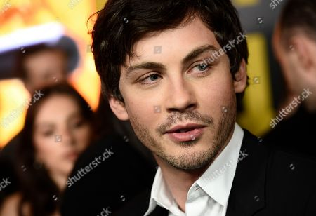 """Logan Lerman, a cast member in the Amazon Prime Video series """"Hunters,"""" is interviewed at the premiere of the show at the Directors Guild of America, in Los Angeles"""