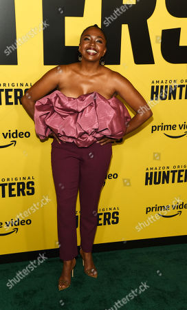 """Stock Picture of Jerrika Hinton, a cast member in the Amazon Prime Video series """"Hunters,"""" poses at the premiere of the show at the Directors Guild of America, in Los Angeles"""