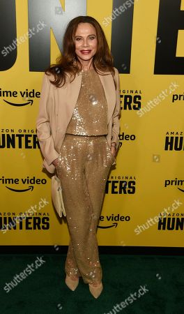 "Stock Photo of Lena Olin, a cast member in the Amazon Prime Video series ""Hunters,"" poses at the premiere of the show at the Directors Guild of America, in Los Angeles"