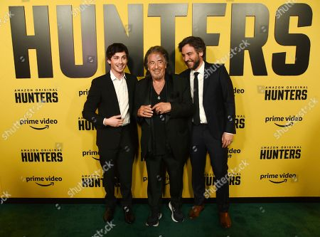"""Logan Lerman, Al Pacino, Josh Radnor. From left, Logan Lerman, Al Pacino and Josh Radnor, cast members in the Amazon Prime Video series """"Hunters,"""" pose together at the premiere of the show at the Directors Guild of America, in Los Angeles"""
