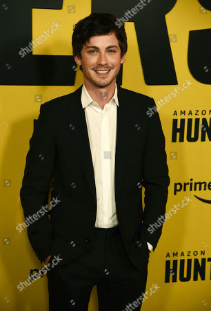 """Logan Lerman, a cast member in the Amazon Prime Video series """"Hunters,"""" poses at the premiere of the show at the Directors Guild of America, in Los Angeles"""