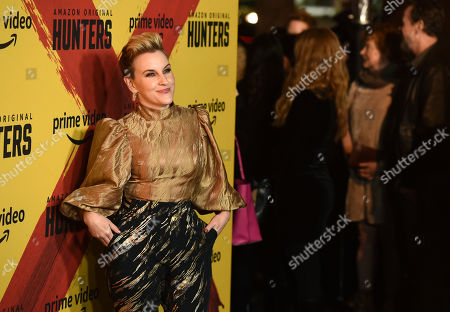 """Kate Mulvany, a cast member in the Amazon Prime Video series """"Hunters,"""" poses at the premiere of the show at the Directors Guild of America, in Los Angeles"""