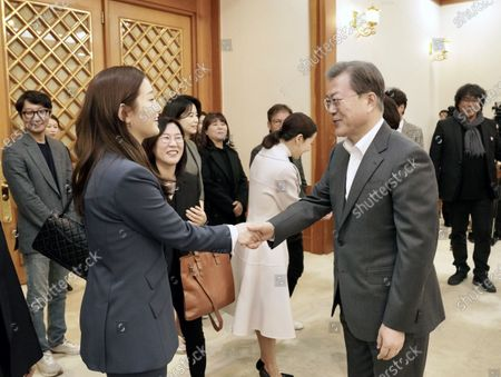 Editorial photo of South Korean President Moon Jae-in meets Parasite cast in Seoul, Korea - 20 Feb 2020