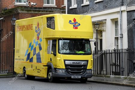 Stock Image of A removal van arrives at No.11 Downing Street, following the resignation of Chancellor of the Exchequer Sajid Javid.