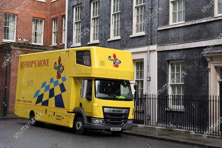 Stock Picture of A removal van arrives at No.11 Downing Street, following the resignation of Chancellor of the Exchequer Sajid Javid.