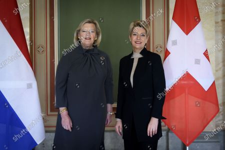 Dutch Minister for Migration Ankie Broekers-Knol (L) poses as she is welcomed by Member of the Swiss Federal Council and Head of the Department of Justice and Police Keller-Sutter (R) at the Bundeshaus West in Bern, Switzerland, 20 February 2020.