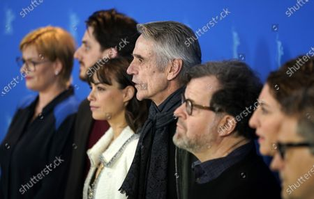 Producer Bettina Brokemper (Germany), actor Luca Marinelli (Italy), Actress Berenice Bejo (France / Argentina), jury president and actor Jeremy Irons (UK), playwright and filmmaker Kenneth Lonergan (USA), programmer, director Annemarie Jacir (Palestine) and film critic and director Kleber Mendonca Filho (Brazil) pose during the International Jury' photocall during the 70th annual Berlin International Film Festival (Berlinale), in Berlin, Germany, 20 February 2020. The movie is presented in the Official Competition at the Berlinale that runs from 20 February to 01 March 2020.