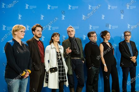 Producer Bettina Brokemper (Germany), actor Luca Marinelli (Italy), Actress Berenice Bejo (France / Argentina), jury president and actor Jeremy Irons (UK), playwright and filmmaker Kenneth Lonergan (USA), programmer, director Annemarie Jacir (Palestine) and film critic and director Kleber Mendonca Filho (Brazil) pose during the International Jury' photocall during the 70th annual Berlin International Film Festival (Berlinale), in Berlin, Germany, 20 February 2020. The Berlinale runs from 20 February to 01 March 2020.