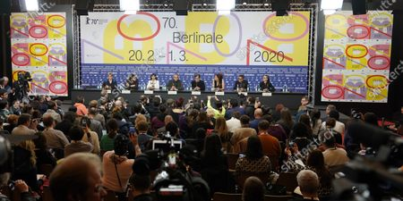 Producer Bettina Brokemper (Germany), actor Luca Marinelli (Italy), Actress Berenice Bejo (France / Argentina), jury president and actor Jeremy Irons (UK), playwright and filmmaker Kenneth Lonergan (USA), programmer, director Annemarie Jacir (Palestine) and film critic and director Kleber Mendonca Filho (Brazil) attend a press conference during the 70th annual Berlin International Film Festival (Berlinale), in Berlin, Germany, 20 February 2020. The Berlinale runs from 20 February to 01 March 2020.