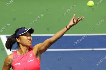 Shuai Zhang of China in action during her doubles quarter final match wuth Gabriela Dabrowski of Canada against Lyudmyla Kichenok and Nadiia Kichenok of Ukraine at the Dubai Duty Free Tennis WTA Championships 2020 in Dubai, United Arab Emirates, 20 February 2020.