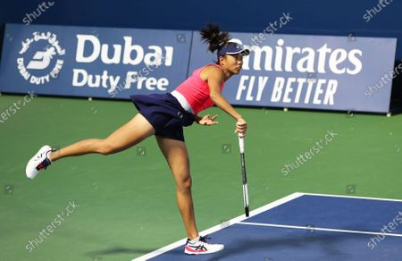 Shuai Zhang of China in action during her doubles quarter final match with Gabriela Dabrowski of Canada against Lyudmyla Kichenok and Nadiia Kichenok of Ukraine at the Dubai Duty Free Tennis WTA Championships 2020 in Dubai, United Arab Emirates, 20 February 2020.