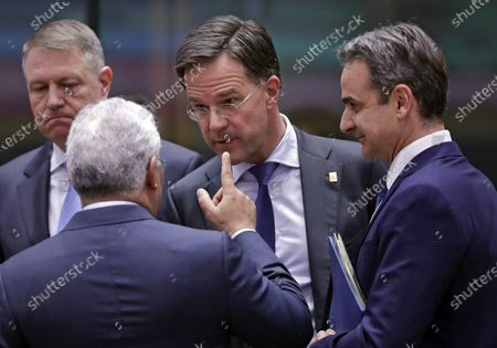 (L-R) Romanian President Klaus Werner Iohannis, Portugal's Prime Minister Antonio Costa, Dutch Prime Minister Mark Rutte, and Greek Prime Minister Kyriakos Mitsotakis talk at a Round Table during a Special European Council meeting in Brussels, Belgium, 20 February 2020. EU heads of state or government gather for a special meeting to discuss the EU's long-term budget for 2021-2027.