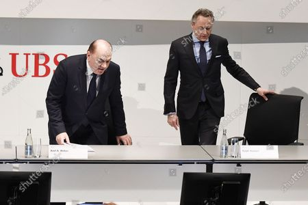 Stock Image of Axel Weber (L), Chairman of the Board of Directors of UBS, and Ralph Hamers (R), future CEO of Swiss Bank UBS, during a press conference in Zurich, Switzerland, 20 February 2020. Dutchman Ralph Hamers will replace Sergio Ermotti, who is still CEO of UBS, on November 1, 2020.