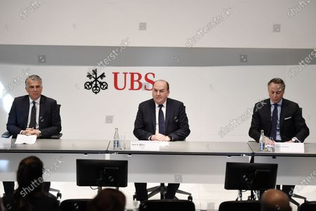 Stock Picture of (L-R) Sergio Ermotti, CEO of Swiss Bank UBS, Axel Weber, Chairman of the Board of Directors of UBS and Ralph Hamers, future CEO of Swiss Bank UBS, during a press conference in Zurich, Switzerland, 20 February 2020. Dutchman Ralph Hamers will replace Sergio Ermotti, who is still UBS boss, on November 1, 2020.