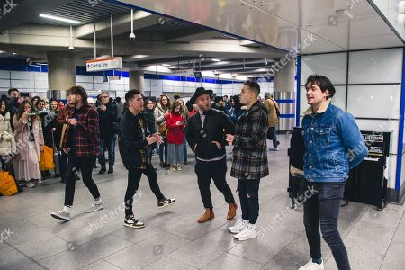 Editorial picture of King Callaway perform at Tottenham Court Road tube station, London, UK - 17 Feb 2020