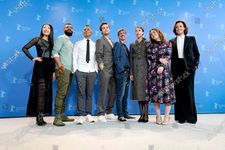Xiao Sun, Hamza Haq, Yanic Truesdale, Douglas Booth, director Philippe Falardeau, Margaret Qualley, writer Joanna Rakoff and Sigourney Weaver pose during the 'My Salinger Year' photocall during the 70th annual Berlin International Film Festival (Berlinale), in Berlin, Germany, 20 February 2020. The movie is presented in the Berlinale Special section at the Berlinale that runs from 20 February to 01 March 2020.