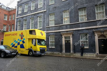 A removal van arrives at No.11 Downing Street, following the resignation of Chancellor of the Exchequer Sajid Javid.