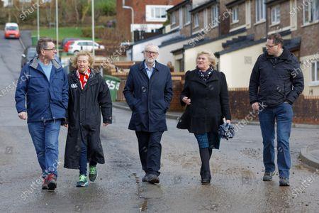 Jeremy Corbyn (C) arrives with L-R Mick Antoniw AM, Christina Rees, Shadow Secretary of State for Wales, Maureen Webber, deputy leader for Rhondda Cynon Taff and Carl Thomas deputy mayor for Pontypridd