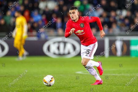 Manchester United midfielder Andreas Pereira (15) during the Europa League match between Club Brugge and Manchester United at Jan Breydel Stadion, Brugge