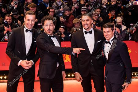 Kai Pflaume, Fahri Ogün Yardim and Andreas Bourani arrive for the Opening Ceremony of the 70th annual Berlin International Film Festival (Berlinale), in Berlin, Germany, 20 February 2020. The Berlinale runs from 20 February to 01 March 2020.
