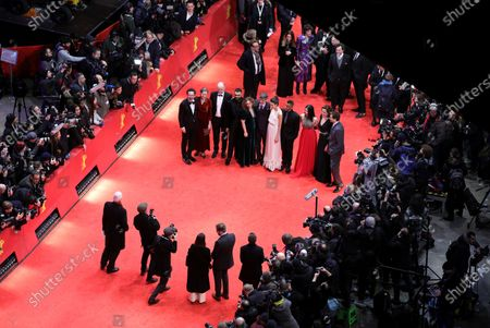 Carlo Chatrian, Mariette Rissenbeek, an unidentified man, Joanna Rakoff, Hamza Haq, Philippe Falardeau, Margaret Qualley, Yanic Truesdale, Xiao Sun, Sigourney Weaver and Douglas Booth arrive for the Opening Ceremony of the 70th annual Berlin International Film Festival (Berlinale), in Berlin, Germany, 20 February 2020. The Berlinale runs from 20 February to 01 March 2020.