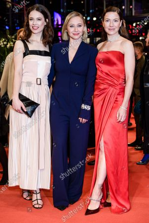 Paula Beer, Anna Maria Muehe and Hannah Herzsprung arrive for the Opening Ceremony of the 70th annual Berlin International Film Festival (Berlinale), in Berlin, Germany, 20 February 2020. The Berlinale runs from 20 February to 01 March 2020.
