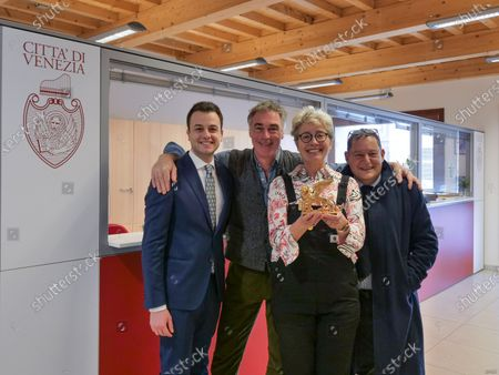Stock Photo of Actress Emma Thompson and her husband Greg Wise showed up at the municipal office to register their residence in the Municipality of Venice. The two actors signed the documents in the presence of the municipal councilor Simone Venturini
