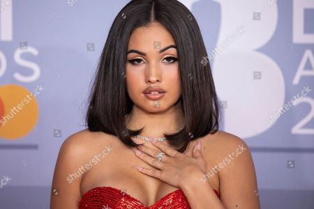 Stock Photo of Mabel McVey poses for photographers upon arrival at Brit Awards 2020 in London