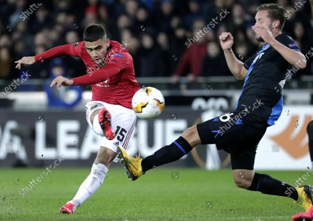 Mats Rits of Brugge (R) in action against Andreas Pereira  of Manchester United (L) during the UEFA Europa League Round of 32, 1st leg match between Club Brugge and Manchester United in Bruges, Belgium, 20 February 2020.