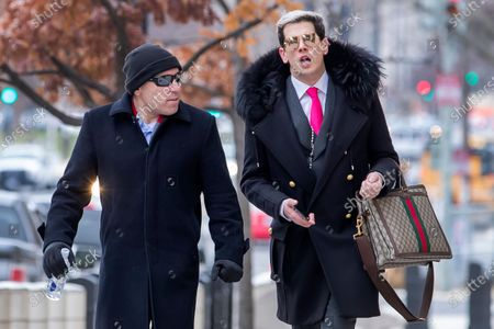 British conservative activist Milo Yiannopoulos (R) arrives to attend the sentencing hearing for Roger Stone, a longtime political advisor to US President Donald J. Trump, at the DC Federal District Court in Washington, DC, USA 20 February 2020. Stone was sentenced to 40 months in prison. The four prosecutors initially requested that Stone be sentenced to seven to nine years in prison, but quit after Attorney General William Barr overrode the recommendation and recommended a softer sentence.