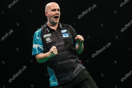 Rob Cross hits a double and wins a leg and celebrates during the Unibet Premier League darts at Motorpoint Arena, Cardiff