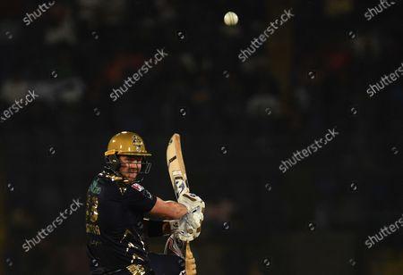 Shane Watson of Quetta Gladiators plays a shot during Pakistan Super League (PSL) T20 series match against Islamabad United, in Karachi, Pakistan, 20 February 2020.