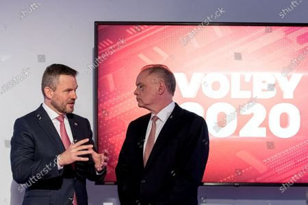 Stock Picture of Slovakian Prime Minister and election leader of Direction Social Democratic (SMER) party, Peter Pellegrini (L) and leader of For the people (Za ludi) party, former Slovak president Andrej Kiska (R) prepare for a television debate for the parliamentary elections at TV JOJ in Bratislava, Slovakia, 20 February 2020. Slovakia will be holding parliamentary elections on 29 February 2020.