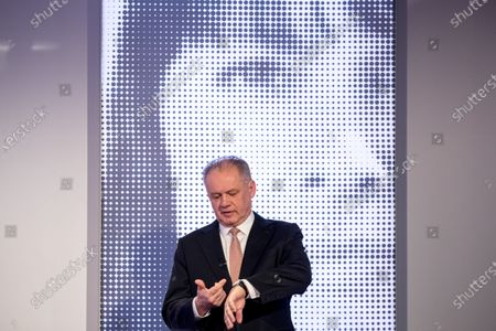 Stock Photo of Leader of For the people (Za ludi) party, former Slovak president Andrej Kiska prepares for a television debate for the parliamentary elections at TV JOJ in Bratislava, Slovakia, 20 February 2020. Slovakia will be holding parliamentary elections on 29 February 2020.