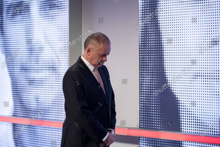 Stock Image of Leader of For the people (Za ludi) party, former Slovak president Andrej Kiska prepares for a television debate for the parliamentary elections at TV JOJ in Bratislava, Slovakia, 20 February 2020. Slovakia will be holding parliamentary elections on 29 February 2020.