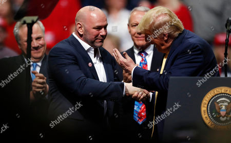 Donald trump, dana white. President Donald Trump, right, greets Dana White, head of the Ultimate Fighting Championship, at a campaign rally, in Colorado Springs, Colo