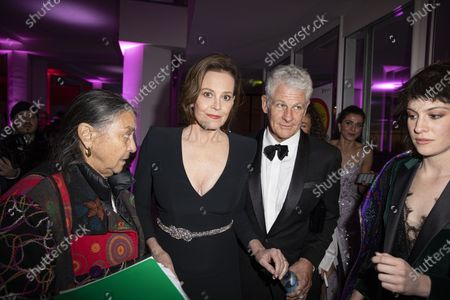 Sigourney Weaver (2-L) and her husband American theatre director Jim Simpson (2-R) arrive at the opening reception party of the 70th annual Berlin International Film Festival (Berlinale), at the Kulturforum in Berlin, Germany, 20 February 2020. The Berlinale runs from 20 February to 01 March 2020.