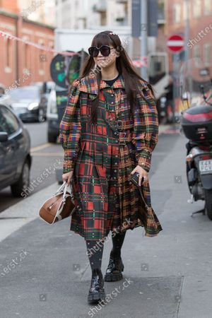 Editorial photo of Street Style, Fall Winter 2020, Milan Fashion Week, Italy - 20 Feb 2020