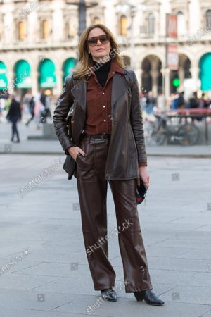 Editorial photo of Street Style, Fall Winter 2020, Milan Fashion Week, Italy - 20 Feb 2020