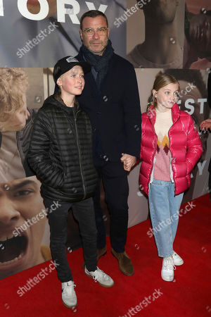 """Liev Schreiber, center, and his children attend the Broadway opening night of """"West Side Story"""" at The Broadway Theatre, in New York"""