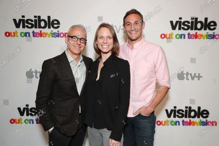 "Jess Cagle, Chief Entertainment Anchor, SiriusXM and Host, The Jess Cagle Show, Jessica Hargrave, Executive Producer, and Ryan White, Director/Executive Producer, attend Apple's ""Visible: Out on Television"" screening at The Castro Theatre, San Francisco's Historic Movie Palace. ""Visible: Out on Television"" is available to watch now on Apple TV+."