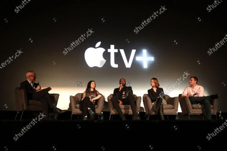 "Stock Picture of Jess Cagle, Chief Entertainment Anchor, SiriusXM and Host, Pam Ling, Patrik-Ian Polk, Jessica Hargrave, Director/Executive Producer, and Ryan White, Director/Executive Producer, speak at Apple's ""Visible: Out on Television"" screening at The Castro Theatre, San Francisco's Historic Movie Palace. ""Visible: Out on Television"" is available to watch now on Apple TV+."