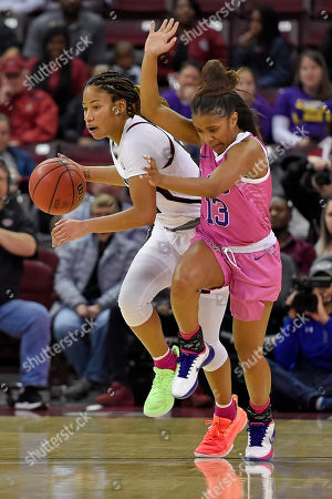 Tyasha Harris, Jaelyn Richard-Harris. South Carolina's Tyasha Harris, left, dribbles while defended by LSU's Jaelyn Richard-Harris during the first half of an NCAA college basketball game, in Columbia, S.C. South Carolina won 63-48