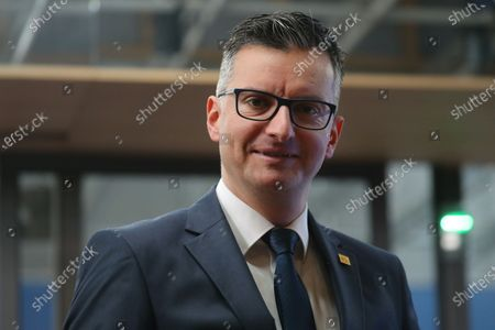 Slovenia's Prime Minister Marjan Sarec arrives for the second day of a Special European Council summit in Brussels, Belgium, 21 February 2020. EU heads of state or government gather for a special meeting to discuss the EU's long-term budget for 2021-2027.
