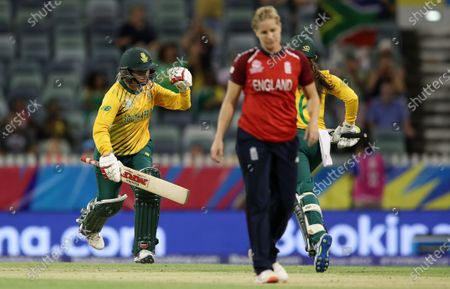 Mignon du Preez of South Africa celebrates after hitting the winning runs off Katherine Brunt of England