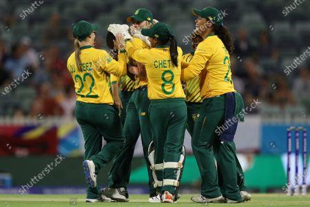 Ayabonga Khaka of South Africa celebrates taking the wicket of Danielle Wyatt of England