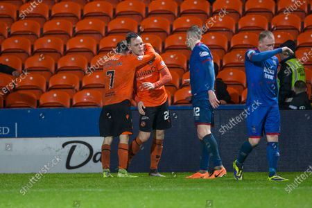 21st February 2020; Tannadice Park, Dundee, Scotland; Scottish Championship Football, Dundee United versus Inverness Caledonian Thistle; Paul McMullan of Dundee United hugs Lawrence Shankland at the end of the match